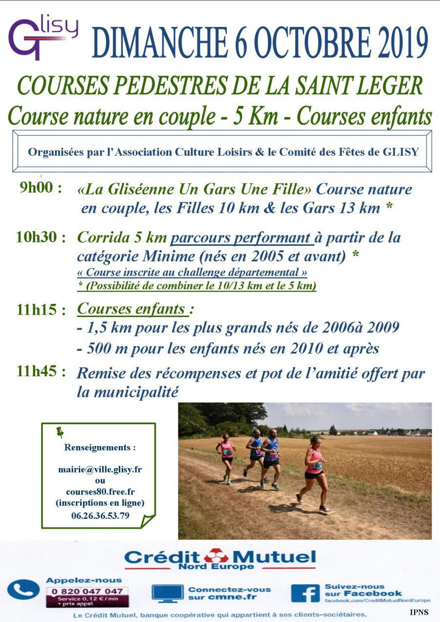 COURSES PÉDESTRES DE LA SAINT-LEGER DE GLISY : 5 + 10 + 13 KM